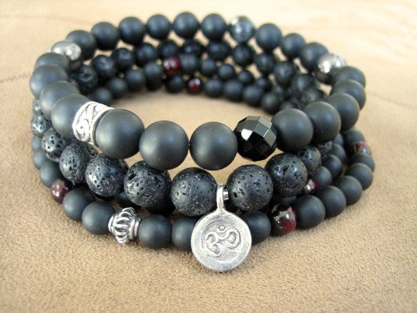 Mens Yoga Bracelet - Lava Stone Mala Bead Bracelet, Faceted Tiger Eye and Thai Silver Om Charm, Spiritual Beads for Men