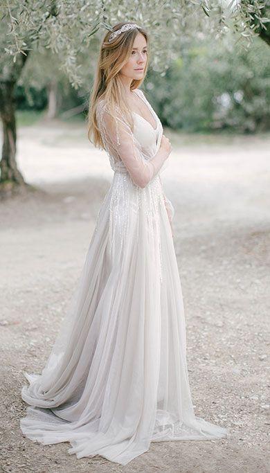 Летящее свадебное платье пудрового оттенка 'Tovel' с рукавами - Свадебный салон 'IDEAL'
