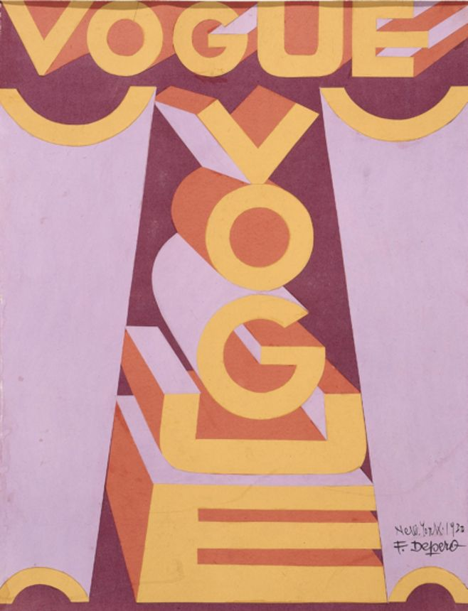 Fortunato Depero (1892-1960), 1930, Vogue Magazine Cover, New York. #Futurism #ItalianFuturism #Typography
