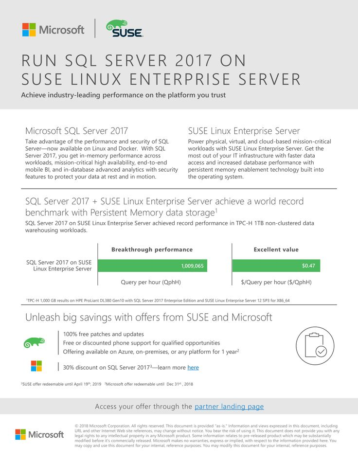 Microsoft SQL Server 2017 on SUSE Enterprise Linux Available on 30% Limited-time Discount