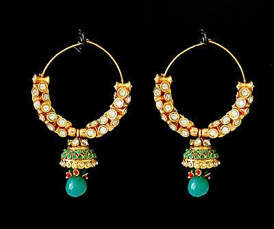 Indian Polki Jewelry Emerald Bollywood Ethnic Kundan Traditional Earrings Set X | eBay