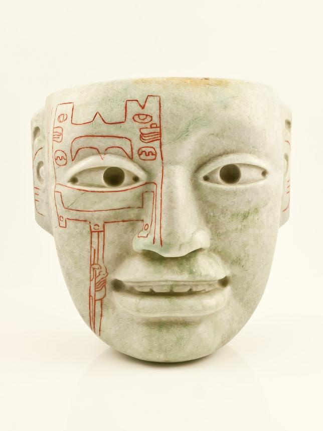 Arroyo Pesquero Mask originally discovered in 1969 - replica on sale at Casa del Jade in Guatemala