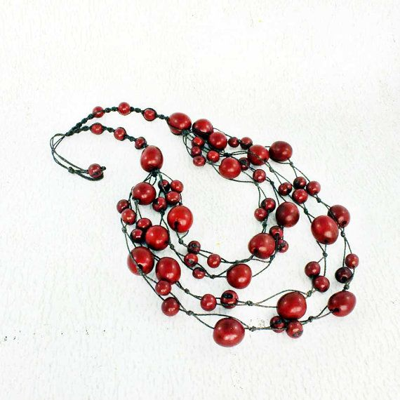 Red Bib Necklace - Red Statement Necklace - Red Chunky Necklace - Multi Strand Necklace - Long Red Necklace - Eco Friendly Jewelry 1070