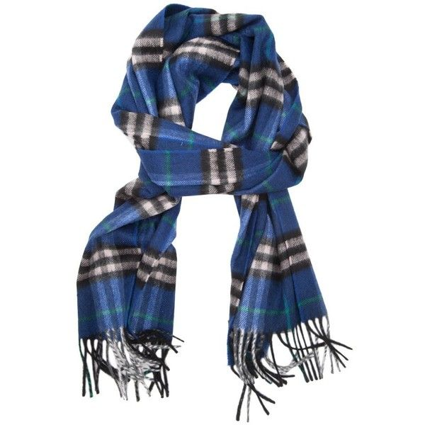 Burberry Castleford Check Cashemere Scarf (1.125 BRL) ❤ liked on Polyvore featuring men's fashion, men's accessories, men's scarves, blue, burberry mens scarves and mens cashmere scarves
