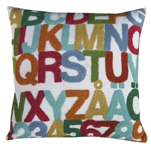 ABC cushion cover by TIKAU / Colored hand-embroidered wool on beige cotton / Size: 50 x 50 cm (Designed by Ea Söderberg)