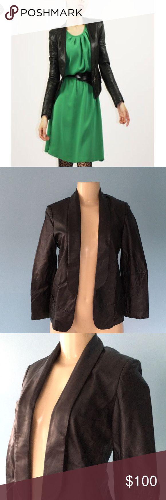 Vintage Black Genuine Leather Jacket, Sz XS
