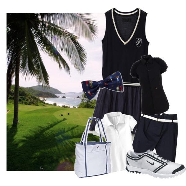 Navy & white golf wear, created by preppedandready.polyvore.com