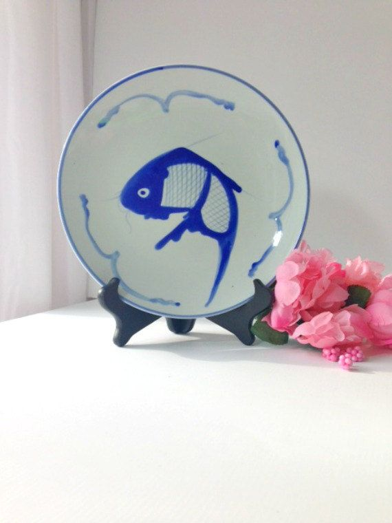 Blue and White Asian Decorative Plate with Koi Fish Motif on Etsy, $14.00