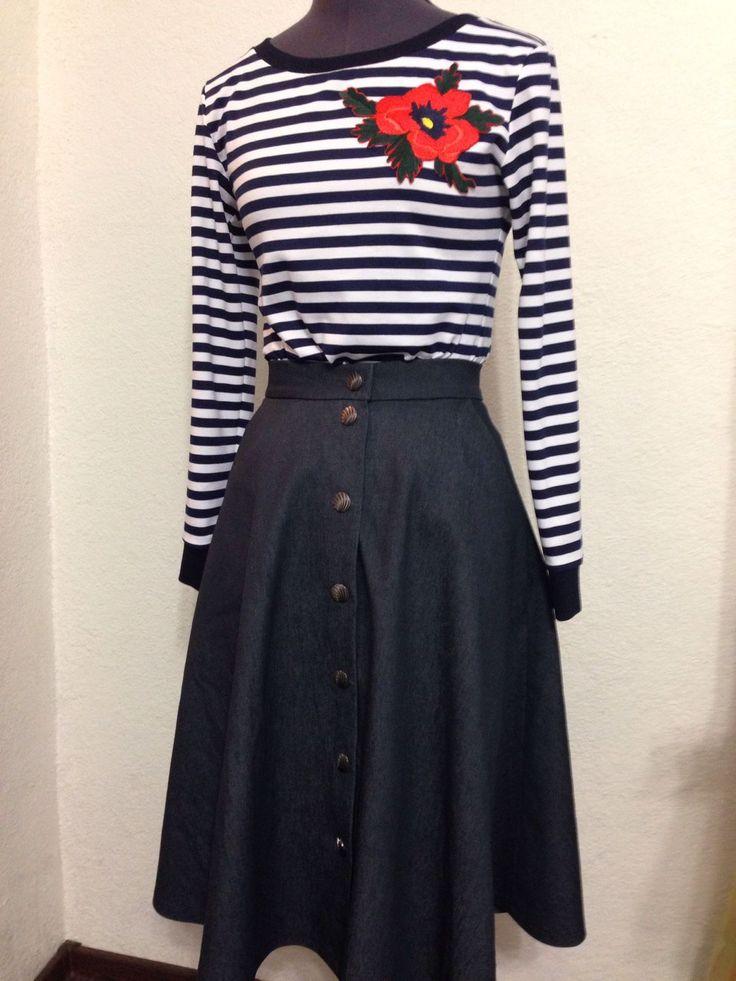 Купить Джинсовая юбка на кнопках - юбка, юбка миди, джинсовая юбка, джинса