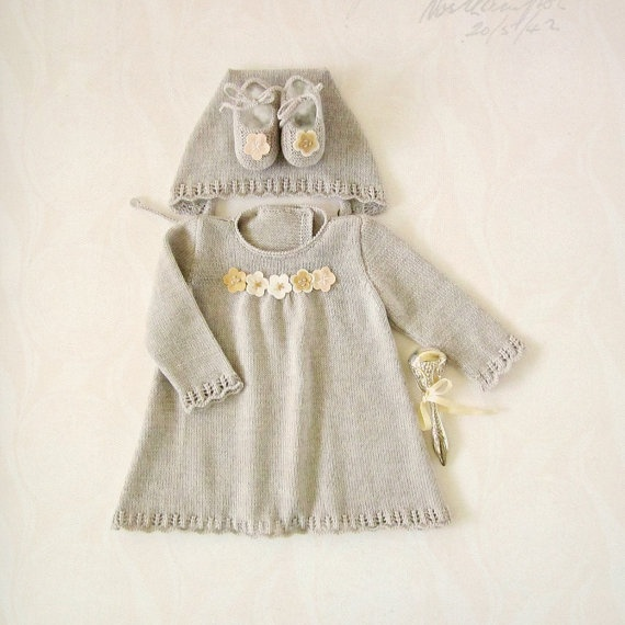 Knitted dress, cap and shoes set for baby girl, in gray. 100% wool. READY TO SHIP in size Newborn. $110.00, via Etsy.