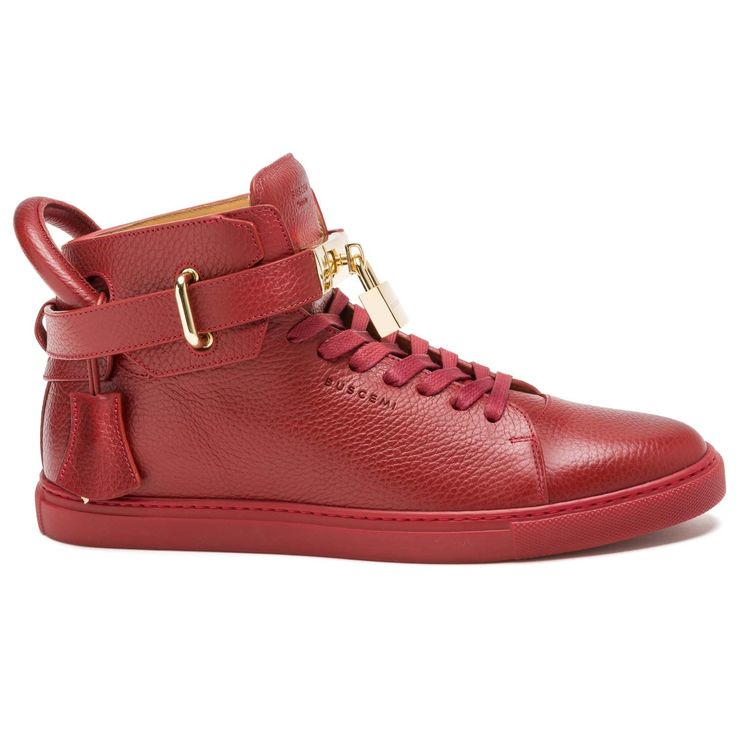 Buscemi Woman Studded Fringed Leather High-top Sneakers Burgundy Size 36 Buscemi r56Sbt