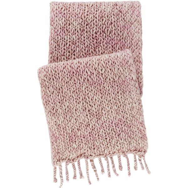 Pine Cone Hill Chunky Knit Slipper Pink Throw Blanket ($180) ❤ liked on Polyvore featuring home, bed & bath, bedding, blankets, chunky knit blanket, fringed throws, plush throw blankets, pink plush blanket and pink blanket