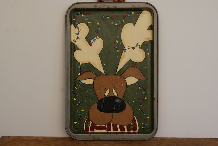 Reindeer Cookie Sheet Decoration ~ Hand Painted Christmas Reindeer On A Cookie Sheet ~ Rustic Christmas Decor ~ Reindeer Decoration - pinned by pin4etsy.com