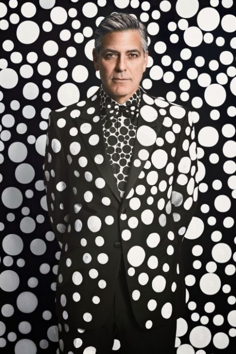 Artist Yayoi Kusama covers Clooney in dots for W Magazine. December, 2013. Oooh Cooney!