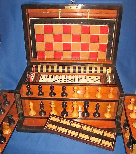 Rare Board Games List | ANTIQUE WALNUT GAMES COMPENDIUM 1880