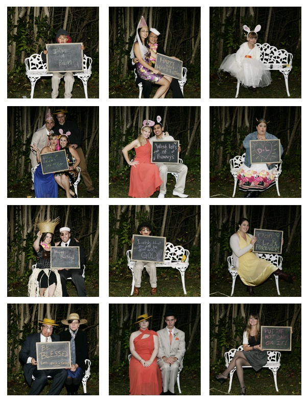 chalkboard photo props - have your guests write their message and take a photo.