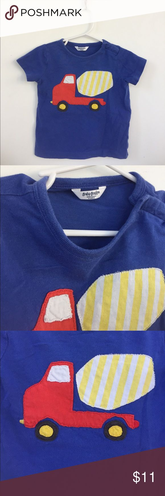 EUC- blue Baby Boden vehicle appliqué tee Despite being one of our favorites, this adorable cement mixer tee is still in pretty excellent condition. Some wash wear, but otherwise no damage. Size 6-12M Mini Boden Shirts & Tops Tees - Short Sleeve