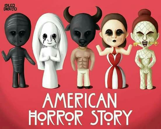 I can't expelían this 😭😭😭 Murder House, Asylum, Coven, Freak Show, and Hotel... Comino sonó Roanoke