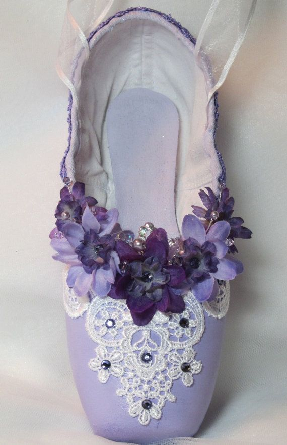 Lilac Fairy/Sleeping Beauty, purple pointe shoe with purple flowers, Swarovski crystals and pearls on Etsy, $75.00