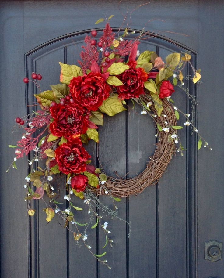 Spring Summer Fall Wreath Red Peony Twig Grapevine Door