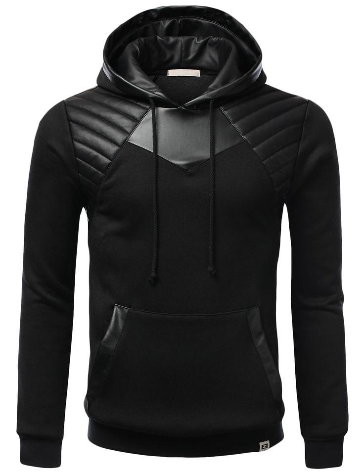 SMITHJAY Mens Hipster Hip-Hop Leather Padding Fleece Hoodie Armor Sweatshirt #smithjay