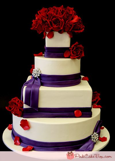 purple and red wedding | Purple Rose & Brooch Wedding Cake » Wedding Cakes