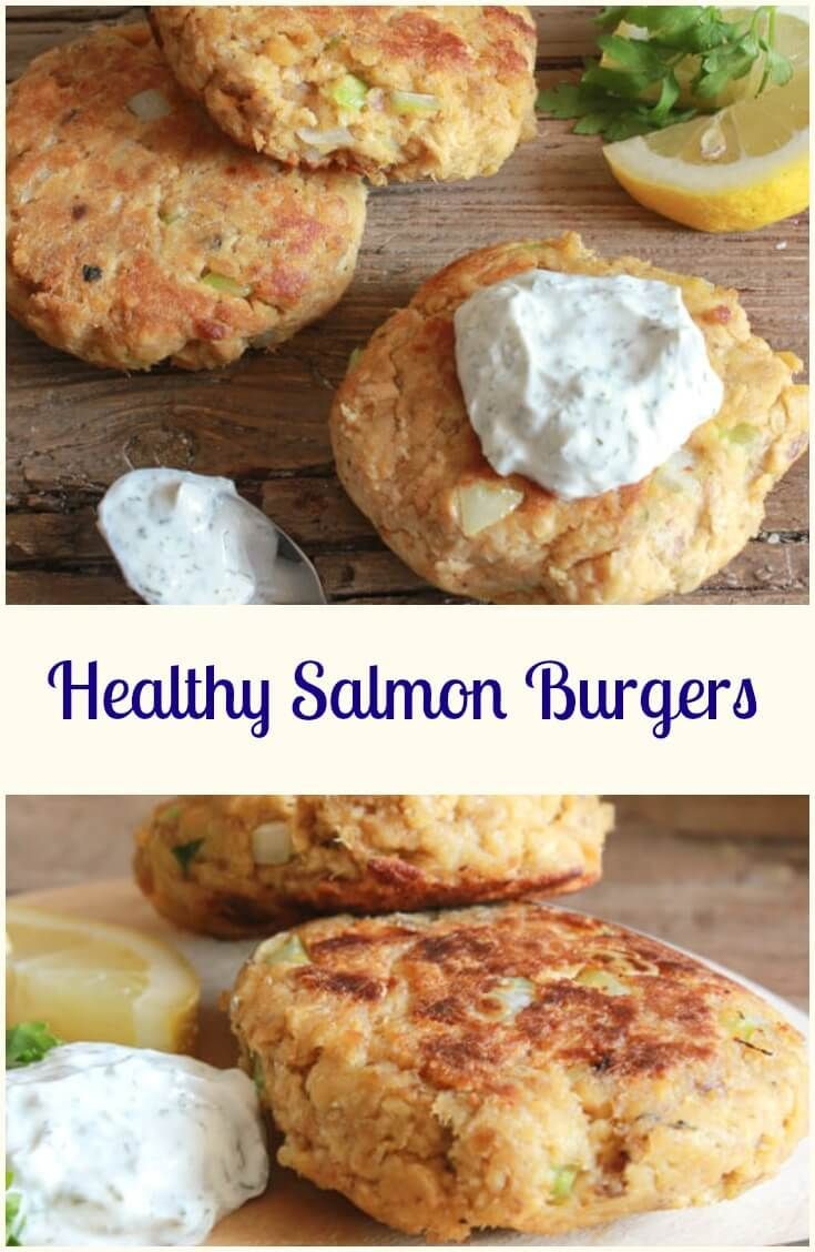 Healthy Salmon Burgers the perfect quick and easy lunch or dinner meal. Use…