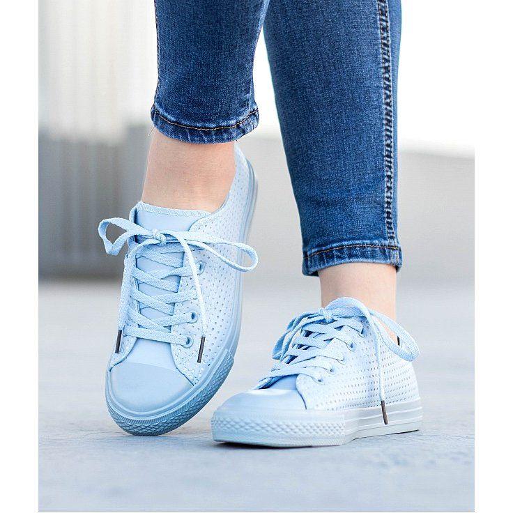 Kylie Azurowe Trampki Na Wiazanie Niebieskie Trainers Women Sneakers Soft Heels