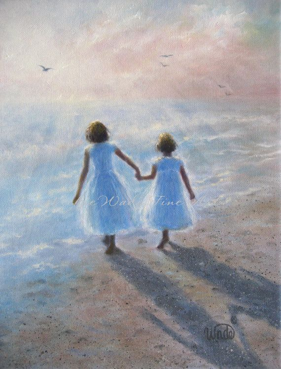 Two Beach Sisters Art Print, two girls beach children ocean paintings two sisters wall art, Vickie Wade art