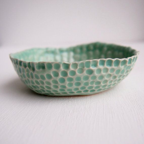 Turquoise ceramic ring dish with gold dots jewellery by Kabinshop