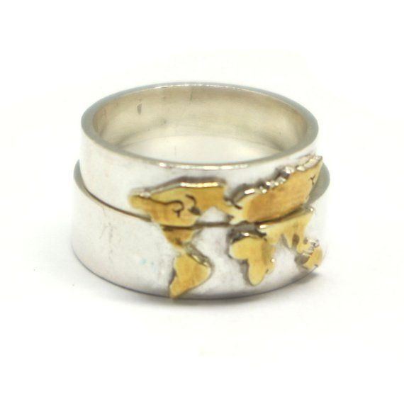 Gold Over Silver World Map Ring World Ring World Jewelry Globe
