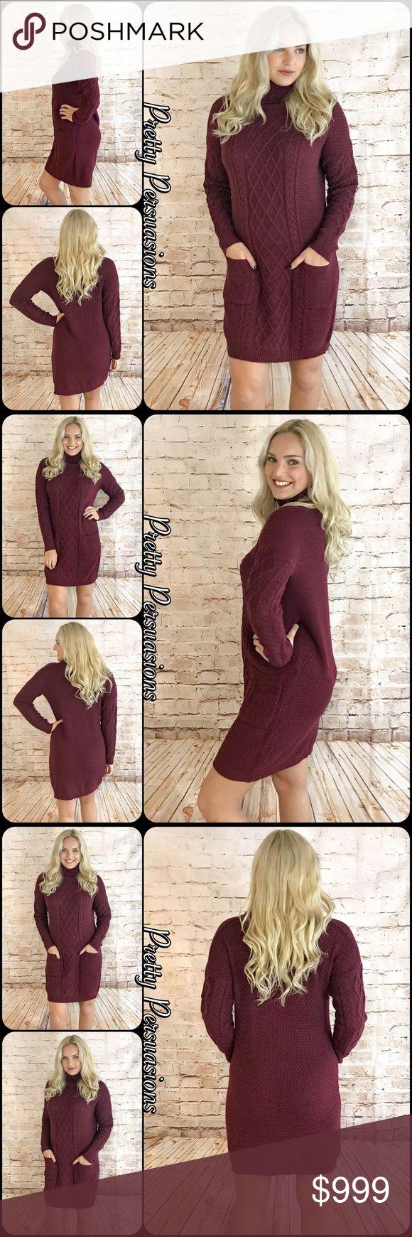 NWT Burgundy Sweater Dress Coming Soon Pretty Persuasions Dresses Long Sleeve