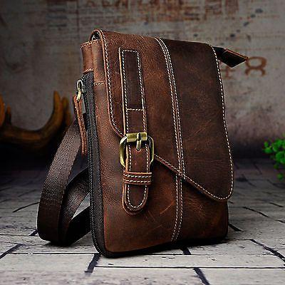 Hombre Cuero Genuino Senderismo Fanny cintura cinturón Pack Pequeño bolsas de mensajero al aire libre