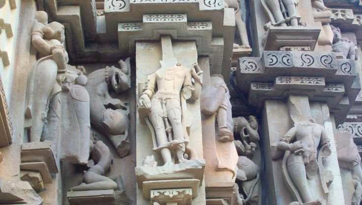Sculptures carved on Khajuraho Temples. As Khajuraho Temples are 1000 years old. Many Sculptures of Khajuraho are destroyed.