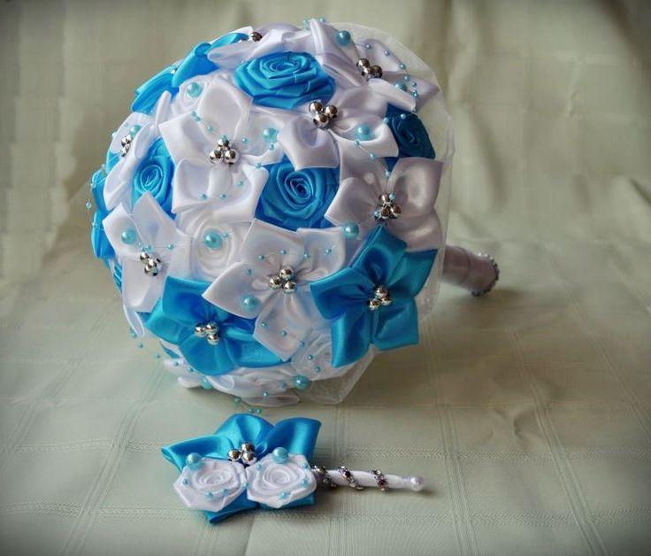 Svadobná látková kytica bielo-tyrkysová