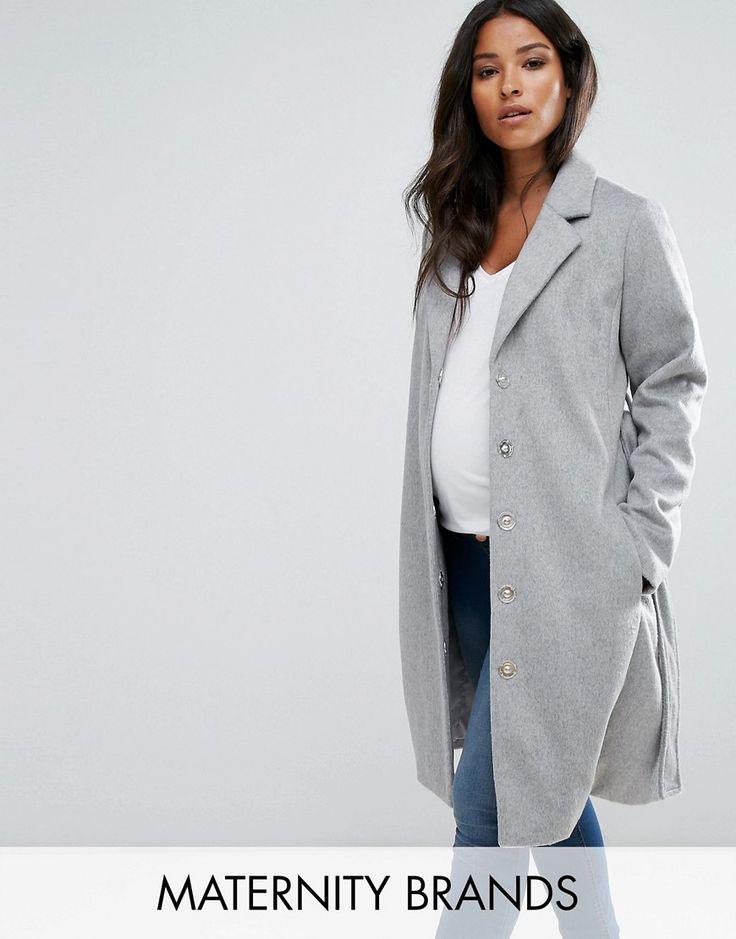 Mamalicious Wool Coat - Gray
