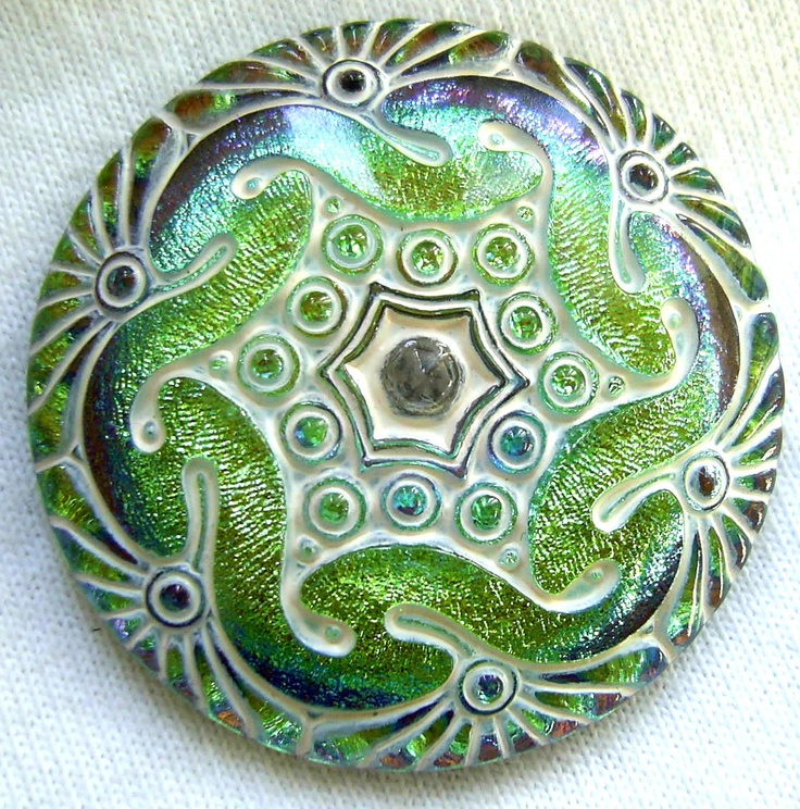XL Czech Glass Button - Chartreuse & Teal Mirror Back Nouveau Floral w/ White Wash 41mm  $10.25