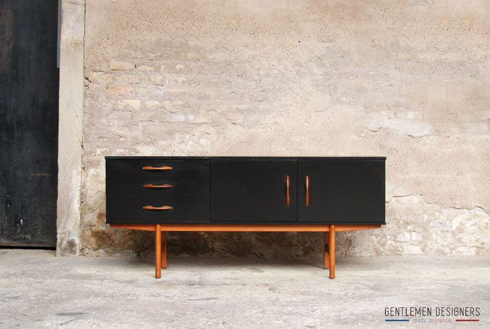 gentlemen designers mobilier vintage made in france enfilade scandinave noir sideboard teck. Black Bedroom Furniture Sets. Home Design Ideas