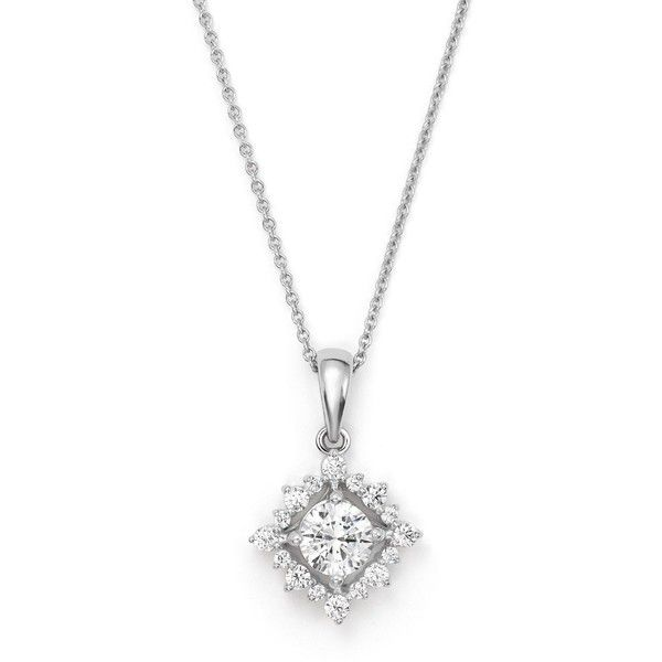 Diamond Solitaire Pendant Necklace with Halo in 14K White Gold, .50... (10,260 SAR) ❤ liked on Polyvore featuring jewelry, necklaces, white, chain necklaces, diamond chain necklace, 14k white gold pendant, white gold pendant necklace and diamond necklace pendant