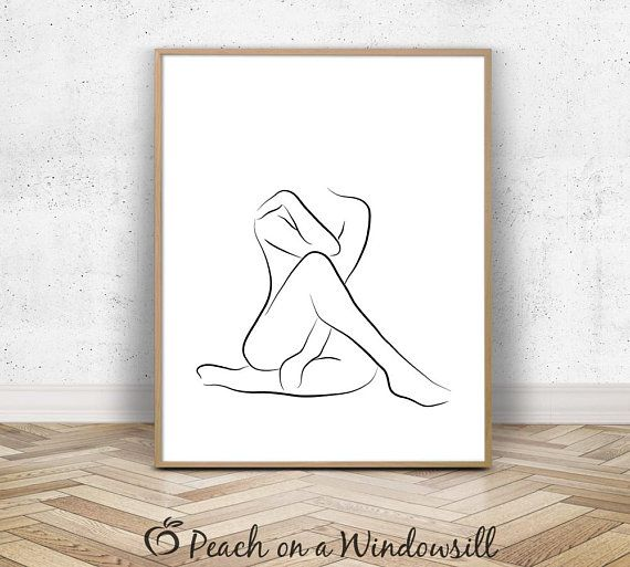 Nude Summary Artwork | Feminine Determine Sketch | Trendy Bare Lady Drawing | Physique Define Print | 8×10 Black White Minimalist Line Artwork Printable