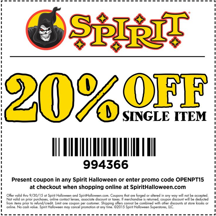 Spirit Halloween stores are now opening! Go to your local store & use this coupon on that item you've been dying for.