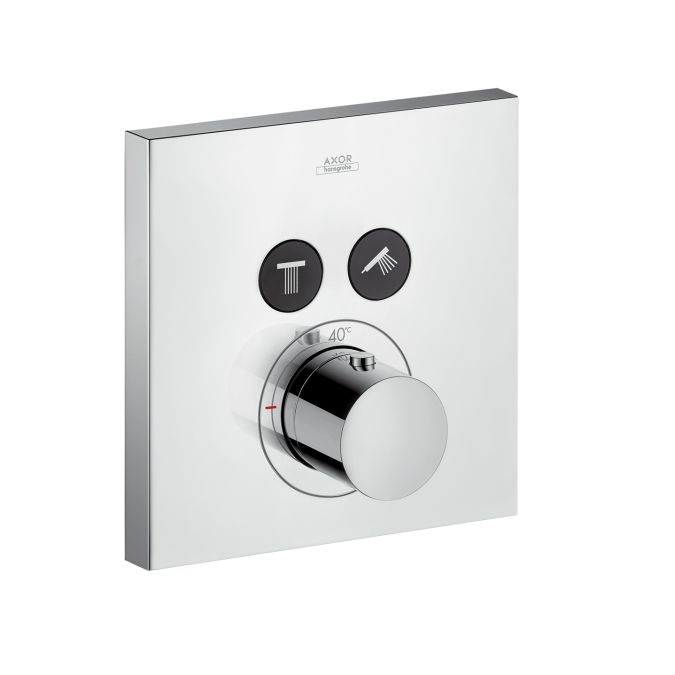 Axor ShowerSelect Square thermostatic mixer for concealed installation for 2 outlets