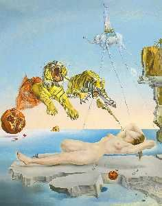 Salvador Dali - Dalí dream caused by the flight of a bee around a pomegranit