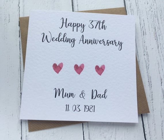 Personalised Wedding Anniversary Card To Parents Etsy In 2021 Wedding Anniversary Cards Personalized Anniversary Cards Personalized Wedding
