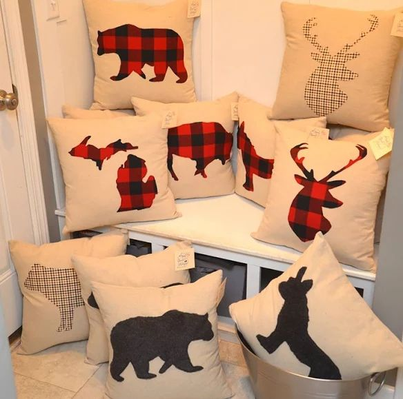 Animal prints!! Buffalo plaid flannel, fuzzy faux gray and brown fur animals, and brown plaid flannel. We have deer, bear, cows, donkeys, and buffalo! Roosters and pigs are coming soon! I FINALLY have them uploaded to our Etsy account and they will be in ALL our stores within the next 2 weeks! - MichiganPillows.com