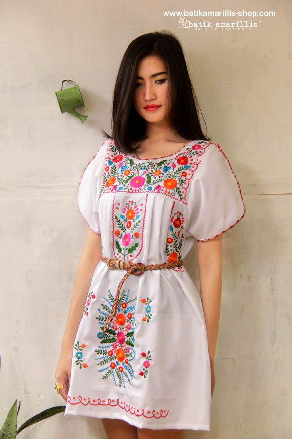 Batik Amarillis' s Viva La Vida! Made in Indonesia ... Mexican folk art inspired... ♥ Frida Tunic ♥ Mexican Embroidery Blouse with Batik piping nificent Mexican traditional inspired blouse is super pretty & comfy with its bold & beautiful embroidery .