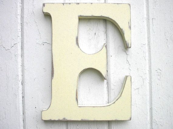 Wooden Letters Initial E 12 Inch Antique White Kids Wall