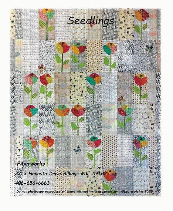 MSRP $22.00 SEEDLINGS Quilt Collage Pattern by Laura Heine - Fiberworks Seedlings quilt pattern features full sized patterns and instructions for this 80 x 96 hand applique quilt. Finished project size: 80 x 96 SHIPPING FEES & SHIPPING OVERAGE REFUNDS - Shipping fees for Patterns,