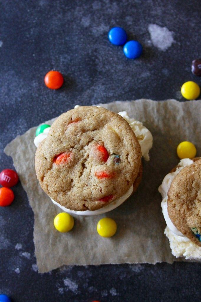 M&M Cookie Ice Cream Sandwiches | Bourbon and Brown Sugar