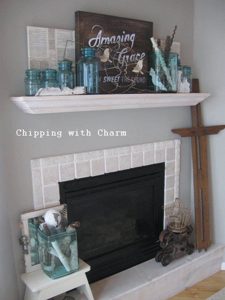 Spring Mantel...aqua glass, jars and JUNK...